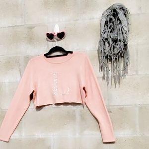 """""""L"""" initial rhinestone crop top sweater"""